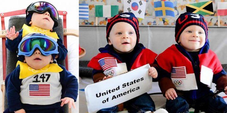 Mãe veste gêmeos com roupas de competidores das Olimpíadas de Inverno e resultado é muito fofo!